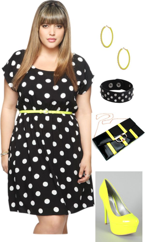 Plus Size Neon Yellow, Black, and White Polka Dot Outfit. This ...