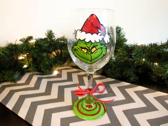 The Grinch Hand Painted Christmas Themed Wine by WineOClockDesigns