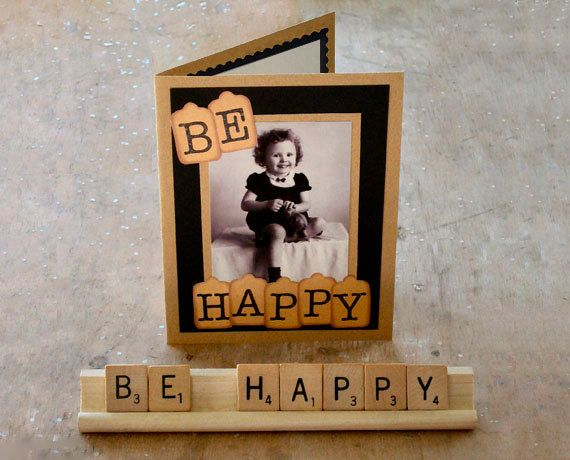 Be Happy Collage Card and Scrabble Saying by RememberMeEmily, $11.50