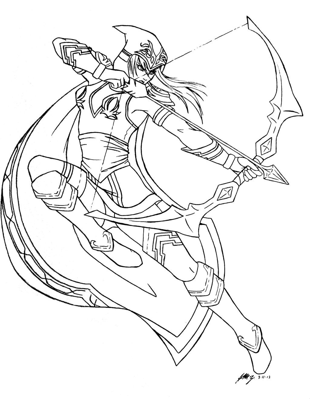 League Of Legends Ashe Lineart By Cristy201 On Deviantart