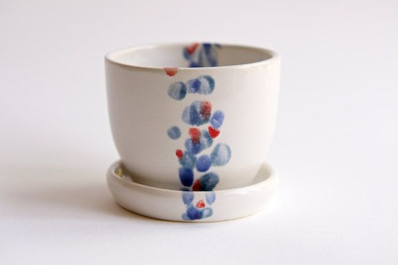 Ceramic Planter with Saucer in Teal Lavender and Red by by RossLab, $32.00