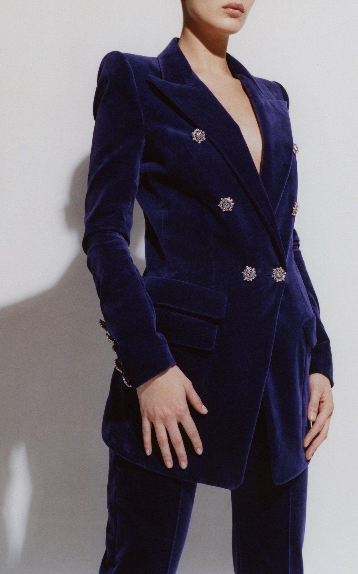 Navy Blue Velvet Pantsuit
