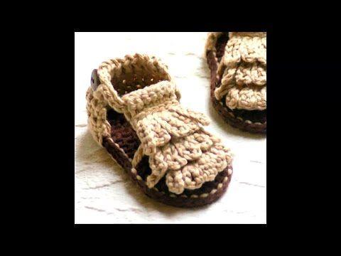 Patucos sandalias bebé ganchillo. Crochet baby sandals. Booties ...