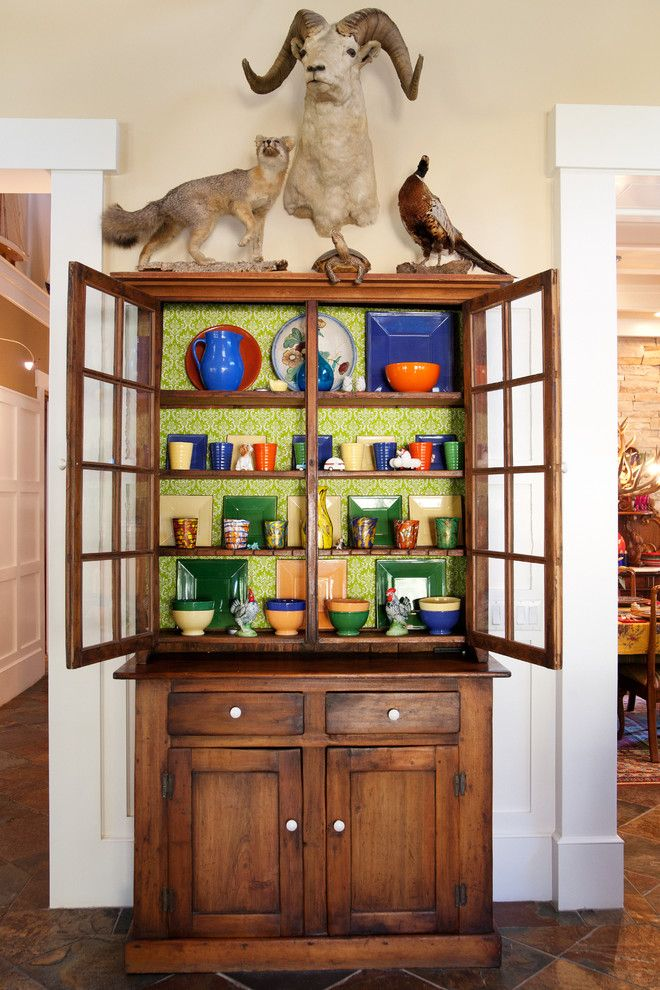 Impressive Curio Cabinet In Eclectic Los Angeles With Paint Inside Cabinets Next To Dining Room Wallpaper