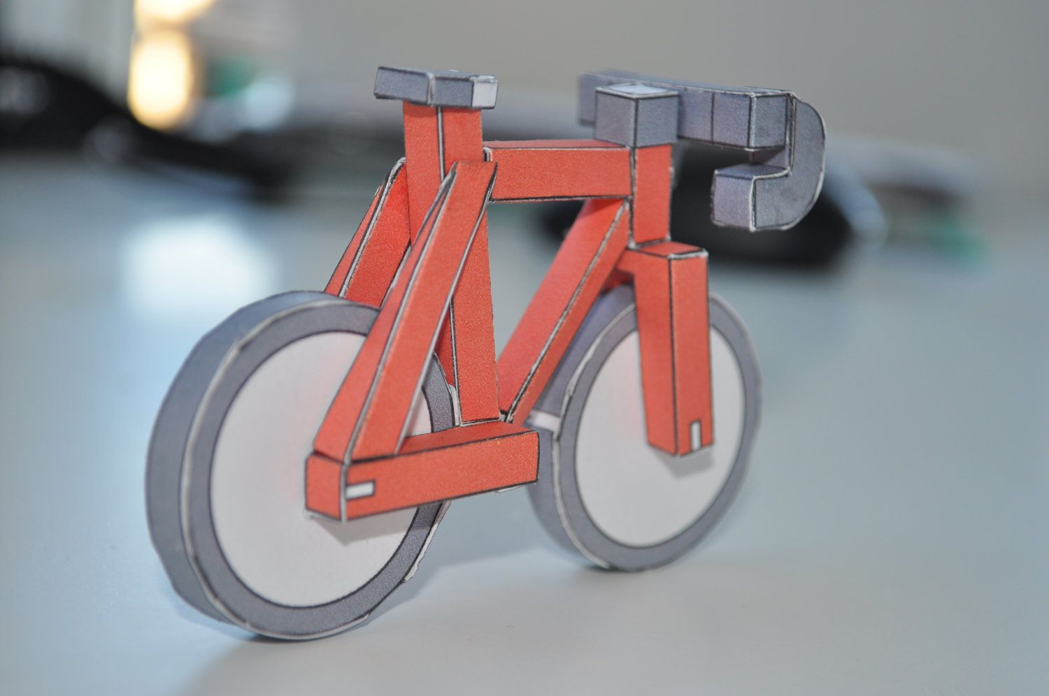 Red Paperbikes V2 Fixed Gear Paper Bike Papercraft Bicycle