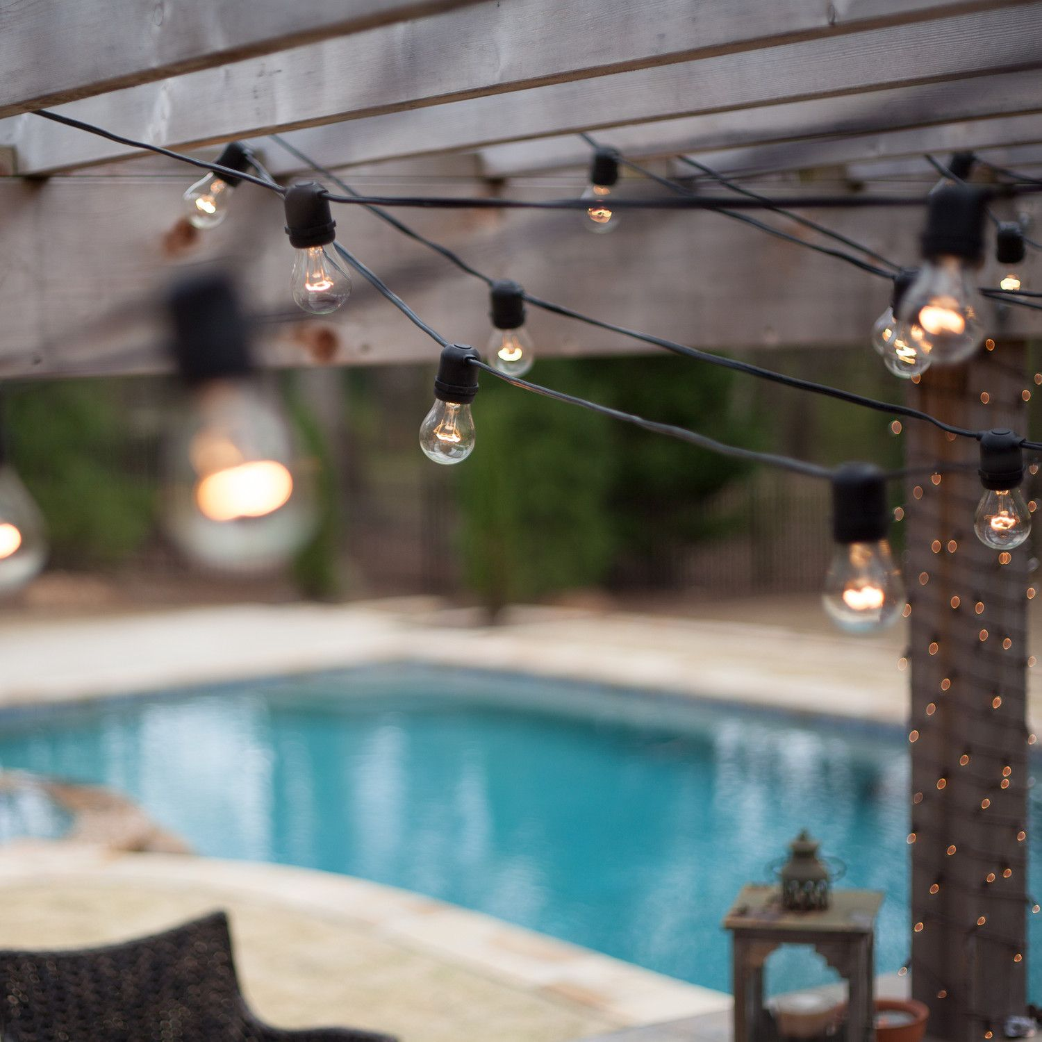54' Commercial Patio String with 24 A15 Clear Outdoor Patio Lights ...