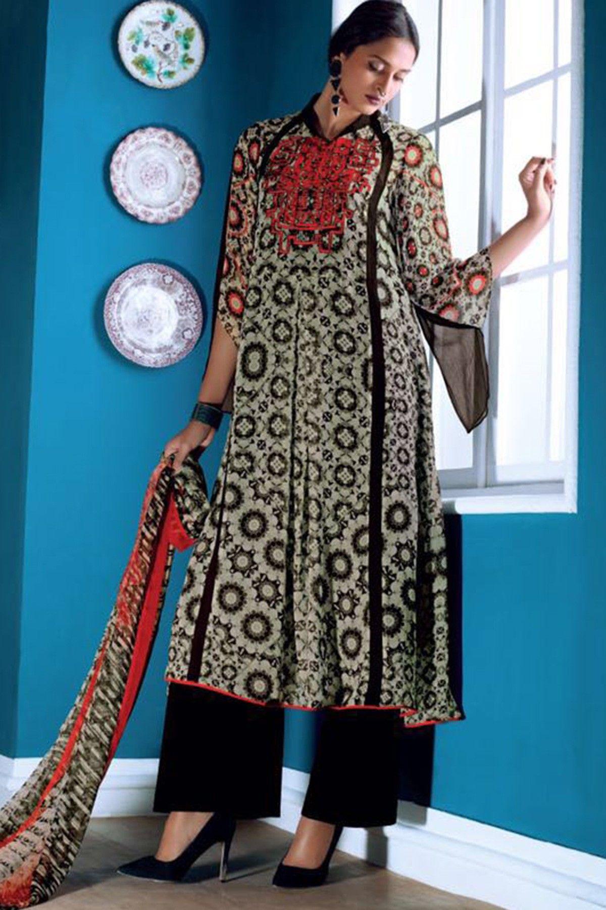 Designer salwar kameez mesmeric peach color net designer suit - Light Grey Mesmeric Prnted Georgette Salwar With Palazzo See More Esha Deol White Color Designer