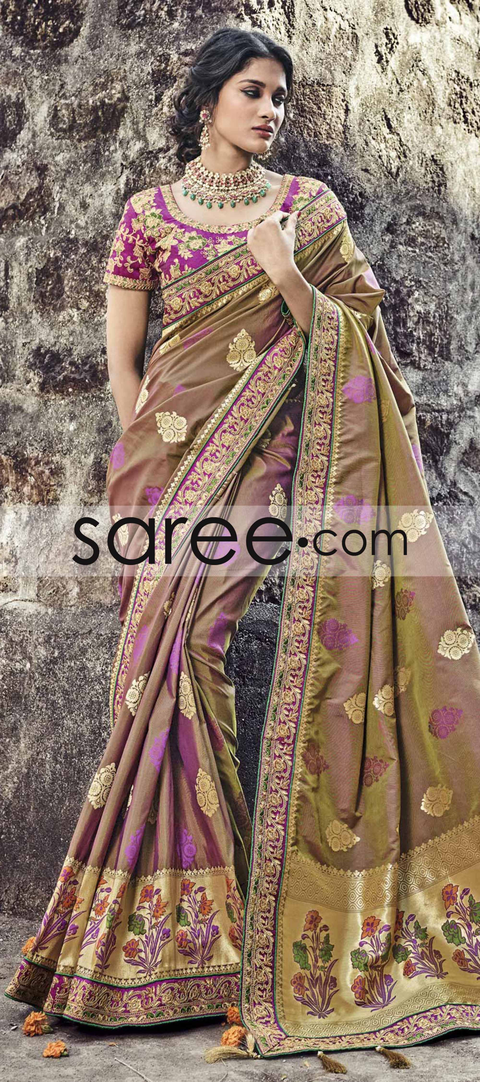 ce64a82385 Peanut Brown Banarasi Silk Saree With Zari Embroidery Work   Silk ...