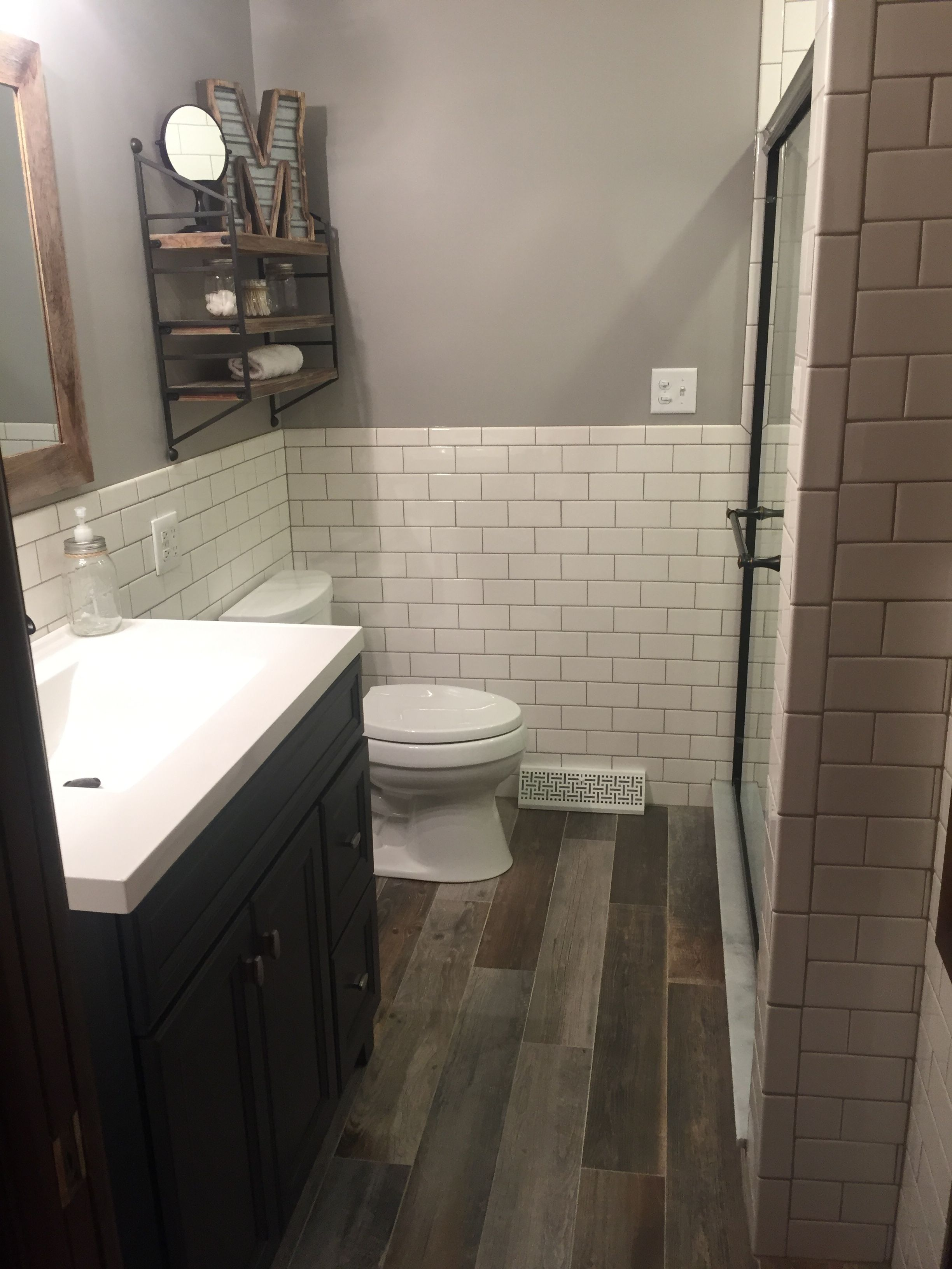 Subway Tile Bathroom Designs Remodel Modern Rustic Bathroom With White Subway Tile And