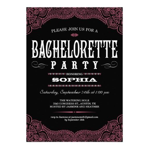 Black Pink Paisley Bachelorette Party Invitation In Each Seller