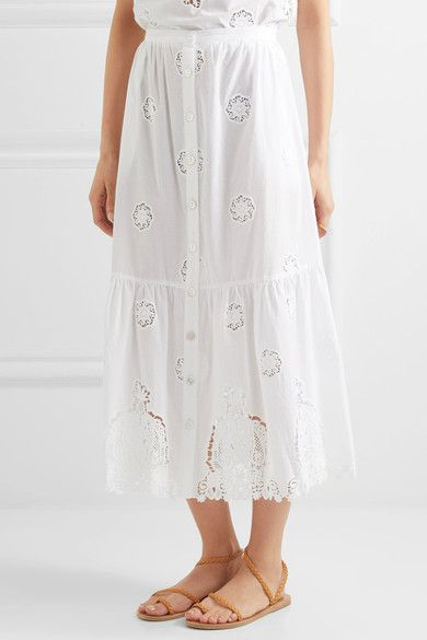 Miguelina - Adrienne Broderie Anglaise Cotton Midi Skirt - White -