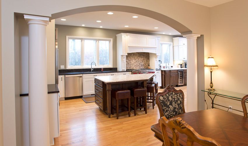 Remodeled Kitchen From Dining Room Arch