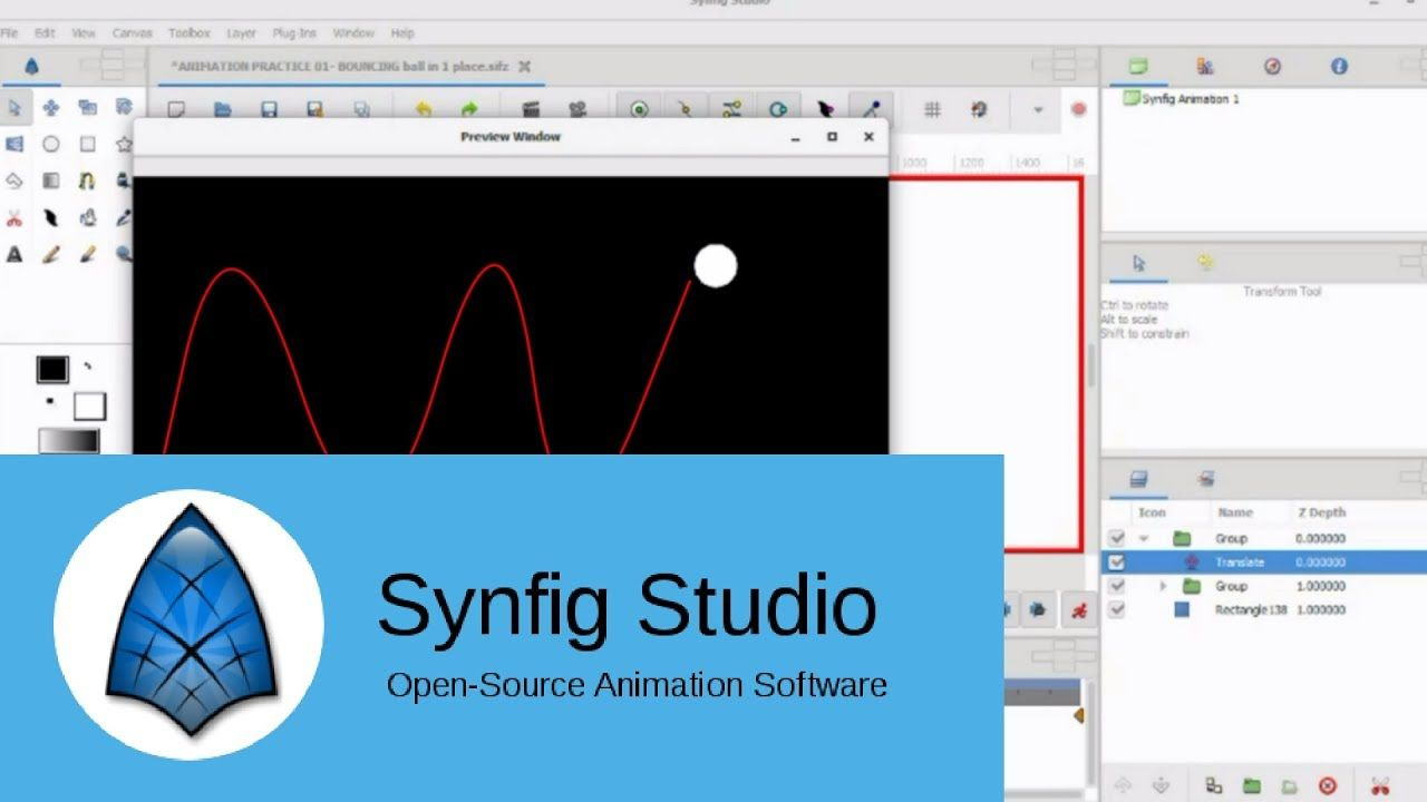 synfig animation tutorial beginner- BOUNCING BALL