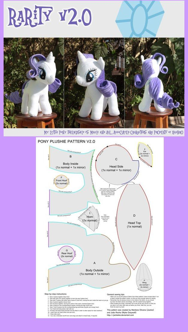 Nähanleitung - My little pony | Schnittmuster | Pinterest | Sewing ...