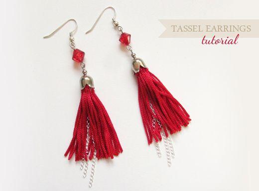 Red Tassel Earrings Tutorial