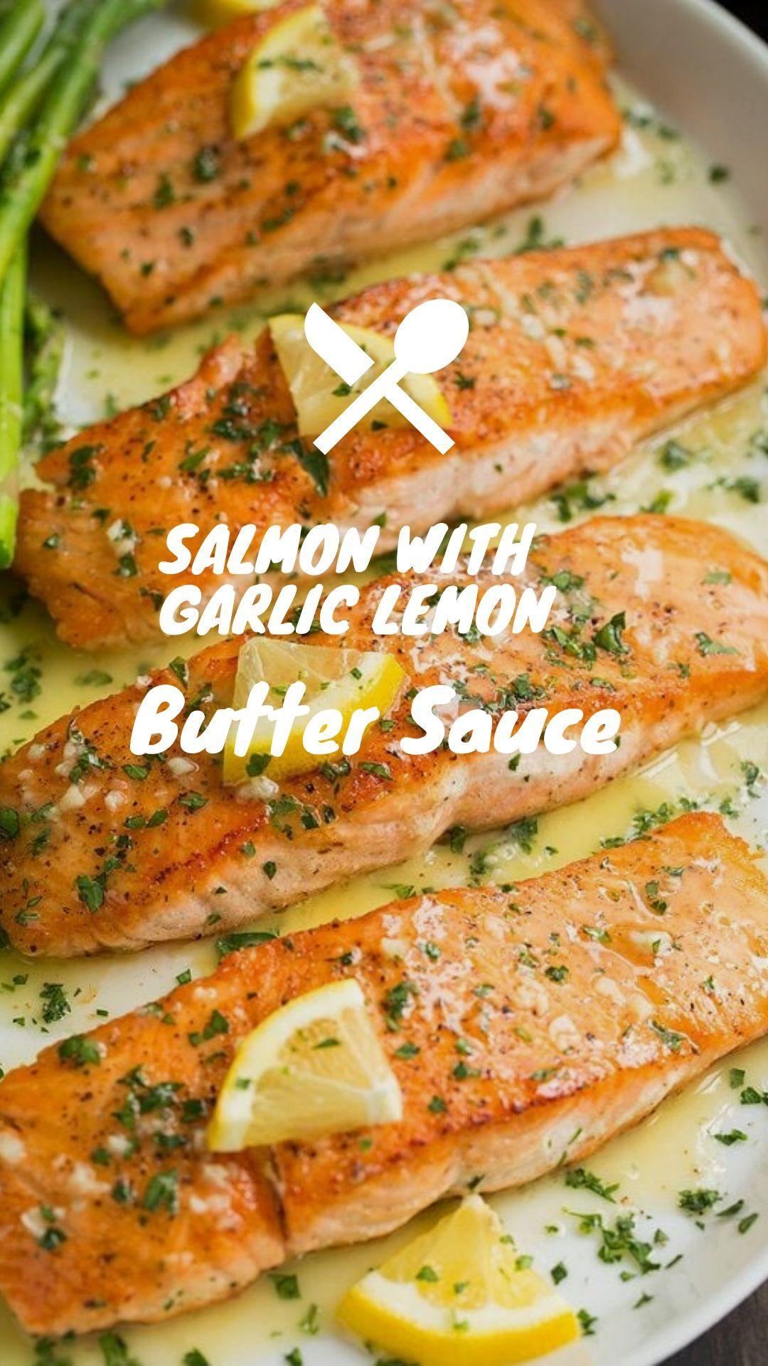 ★★★★★363 Salmon with Garlic Lemon Butter Sauce #Salmon #Garlic #Lemon #Butter #Sauce