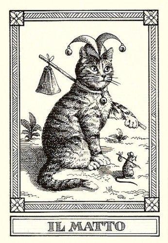 """""""Il Matto""""-- Gatti, by Osvaldo Menegazzi. The deck of 22 tarot cards was published by Il Meneghello in Italy in 1990."""