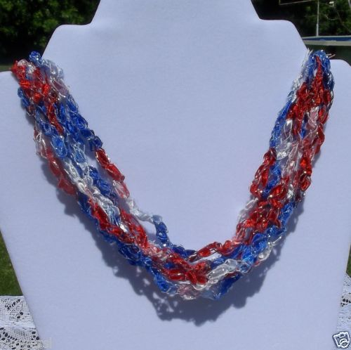 Necklace-RED-WHITE-BLUE-Patriotic-4th-of-July-Handmade-ADJUSTABLE-Free-USA-S-H