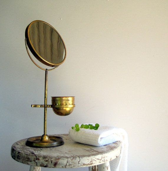 Antique Vintage Brass Shaving Mirror Stand Double Sided Magnifying
