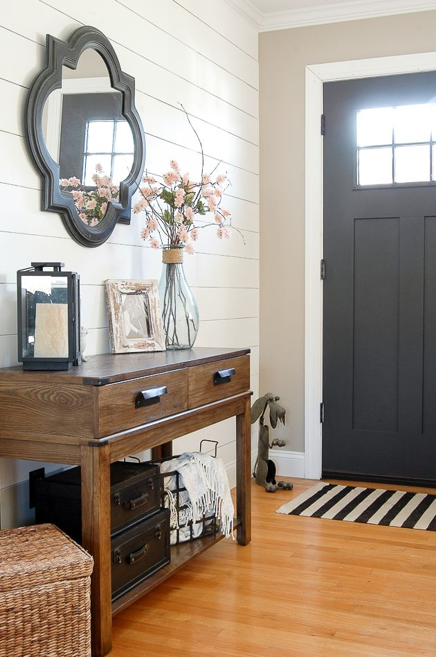 Simple Spring Decorating With Dollar Tree Flowers In 2019 Decor Rustic Entryway Foyer Furniture Farmhouse