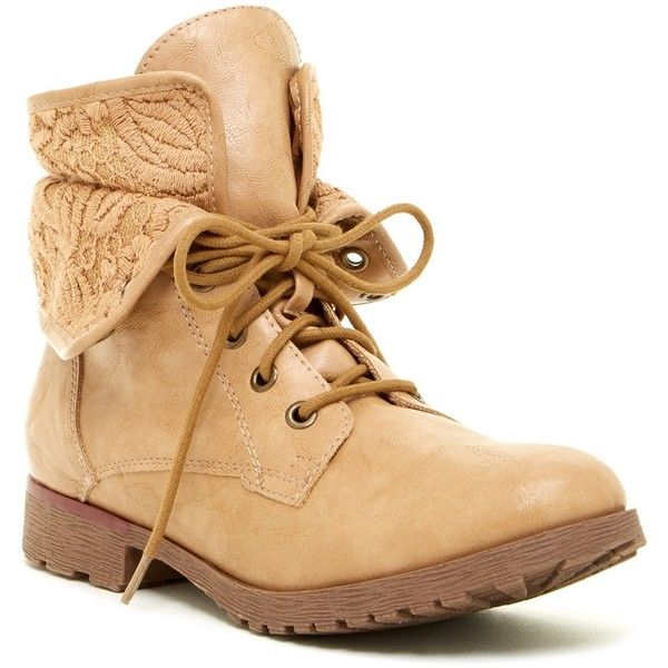 d80061c71c7 Rock & Candy Spraypaint Lace Combat Boot ($40) ❤ liked on Polyvore  featuring shoes, boots, ankle booties, lt tan fx, lace up boots, lace  combat boots, ...
