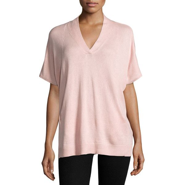 Neiman Marcus Silk-Cashmere Short-Sleeve Pullover Top ($109 ...