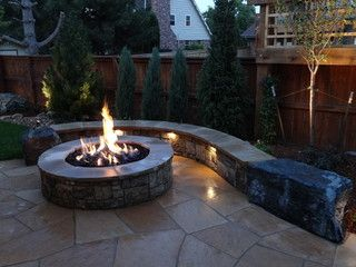 Rustic Natural Stone Fire Pit And Seat Wall To Relax By On A Cool Night Outdoor Fire Pit Designs Fire Pit Grill Outdoor Fire Pit