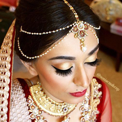Red And Gold Bridal Makeup Lashes Shadow Red Lips Red Lipstick