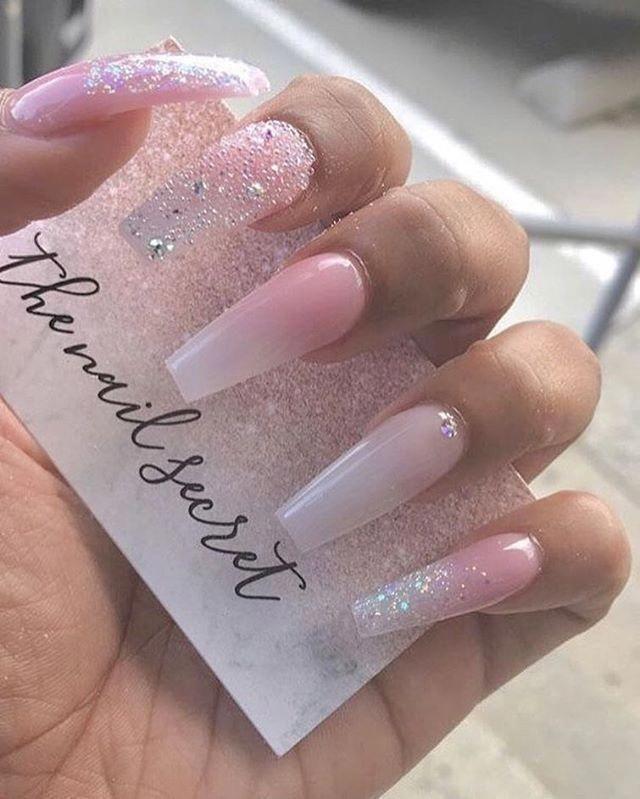 Birthdaynails Pink Glitter Nails Baby Pink Nails Coffin Nails Designs