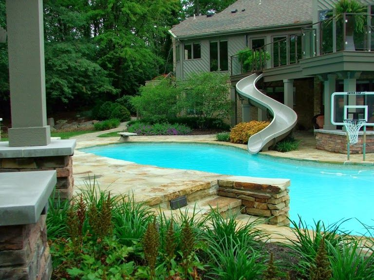 House Pools With Slides photo: pool? check. diving board? check. basketball? check. deck