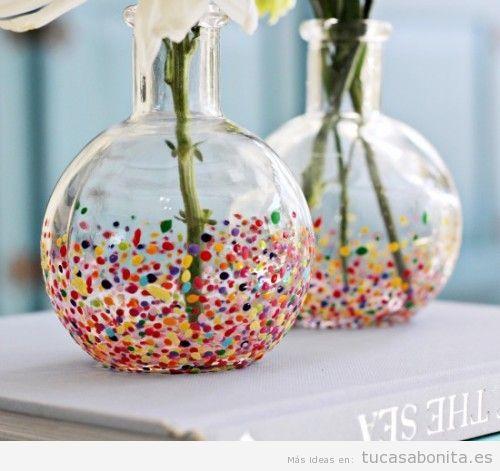 jarrones diy decorados a mano para la decoracin de casa usando pintura purpurina tela y otros materiales - Jarrones Decorados