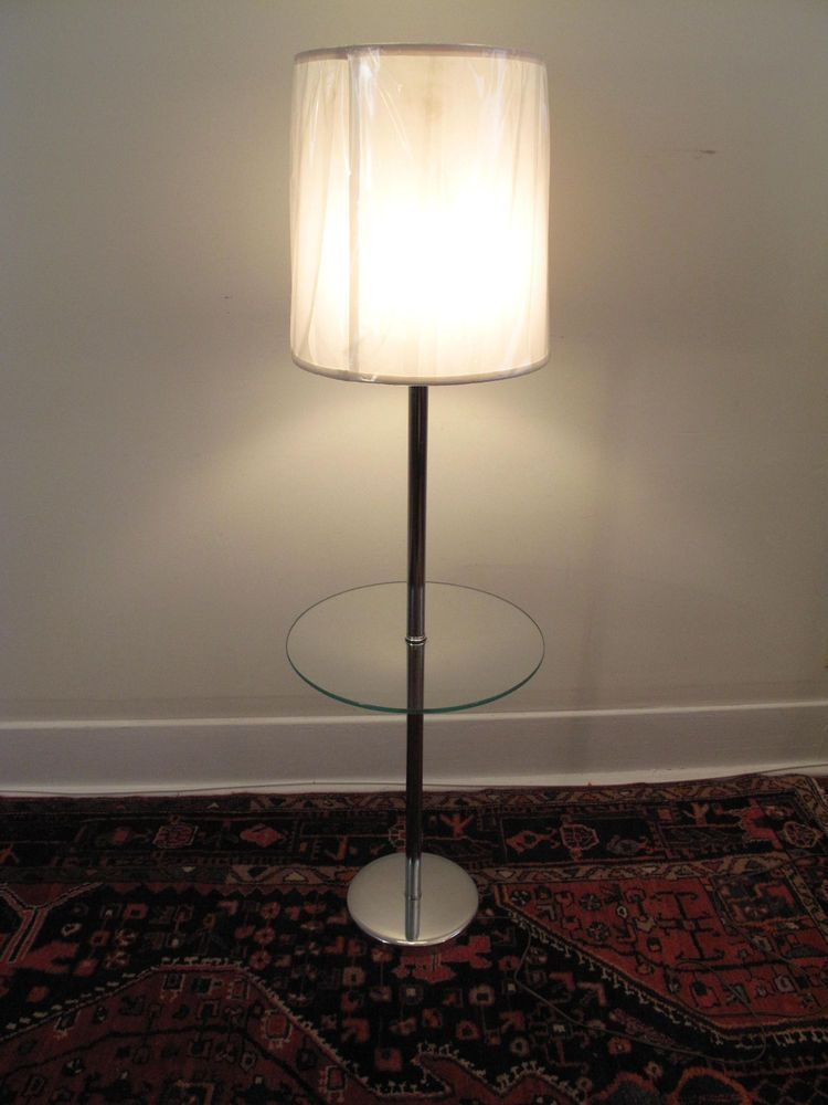VINTAGE MID CENTURY MODERN CHROME U0026 GLASS END TABLE FLOOR LAMP EILEEN GRAY