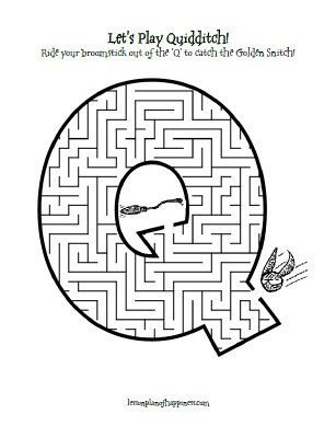 Q is for Quidditch Maze free printable Homeschool