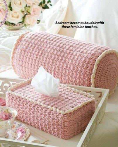 W112 Crochet PATTERN ONLY Boutique Bolster Pillow / Tissue Box Cover & W112 Crochet PATTERN ONLY Boutique Bolster Pillow / Tissue Box ... pillowsntoast.com
