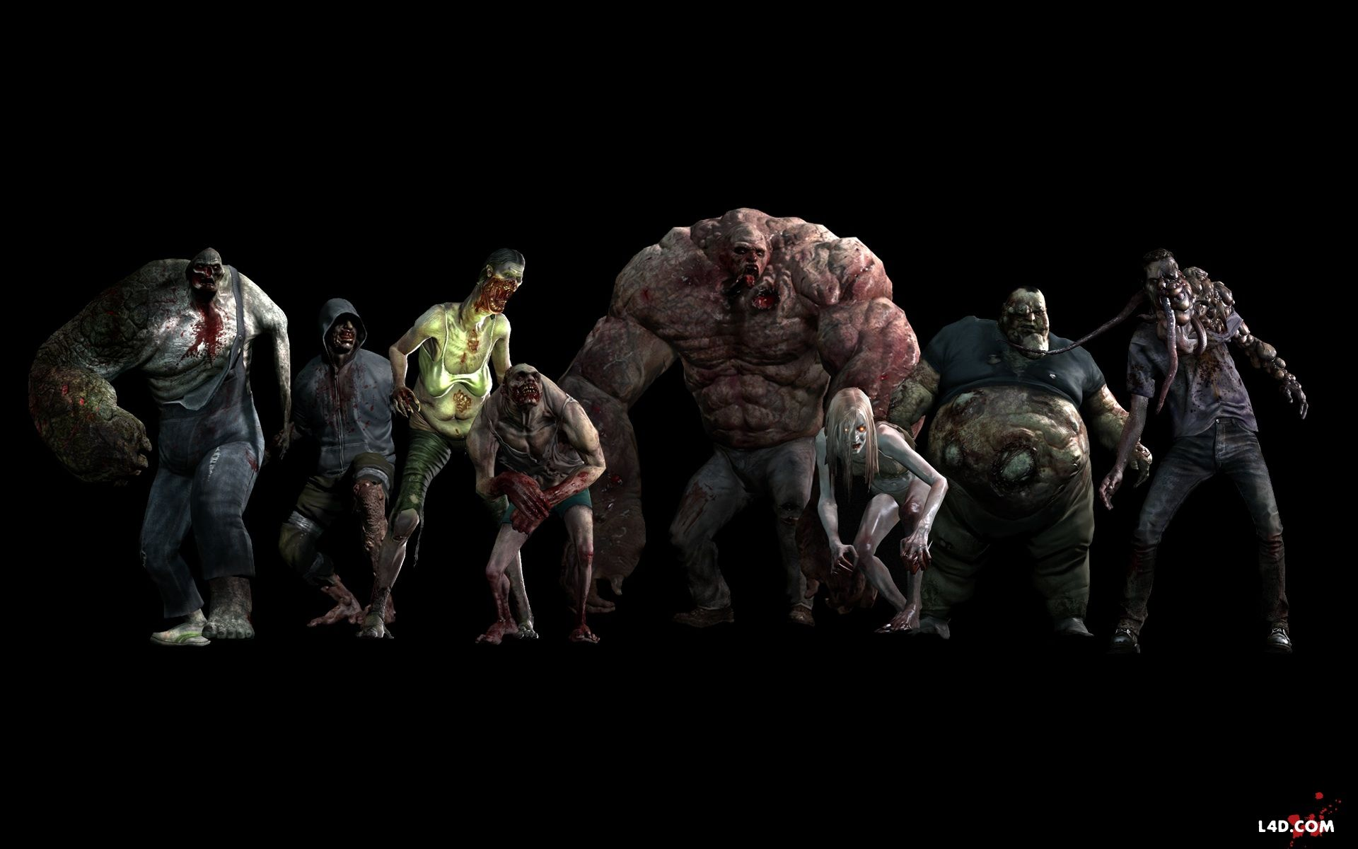 L4D 2 monsters spitter, jockey, charger, tank, boomer and witch