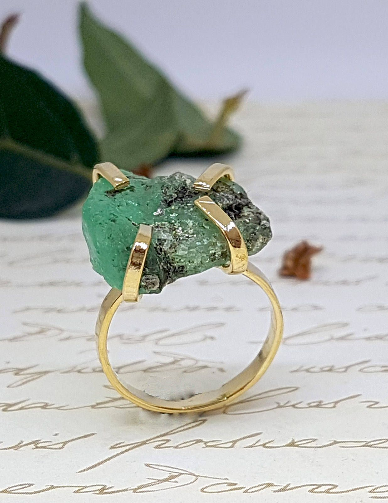 Rough Emerald Ring, Raw Emerald Ring, Gold Emerald Ring, May ...