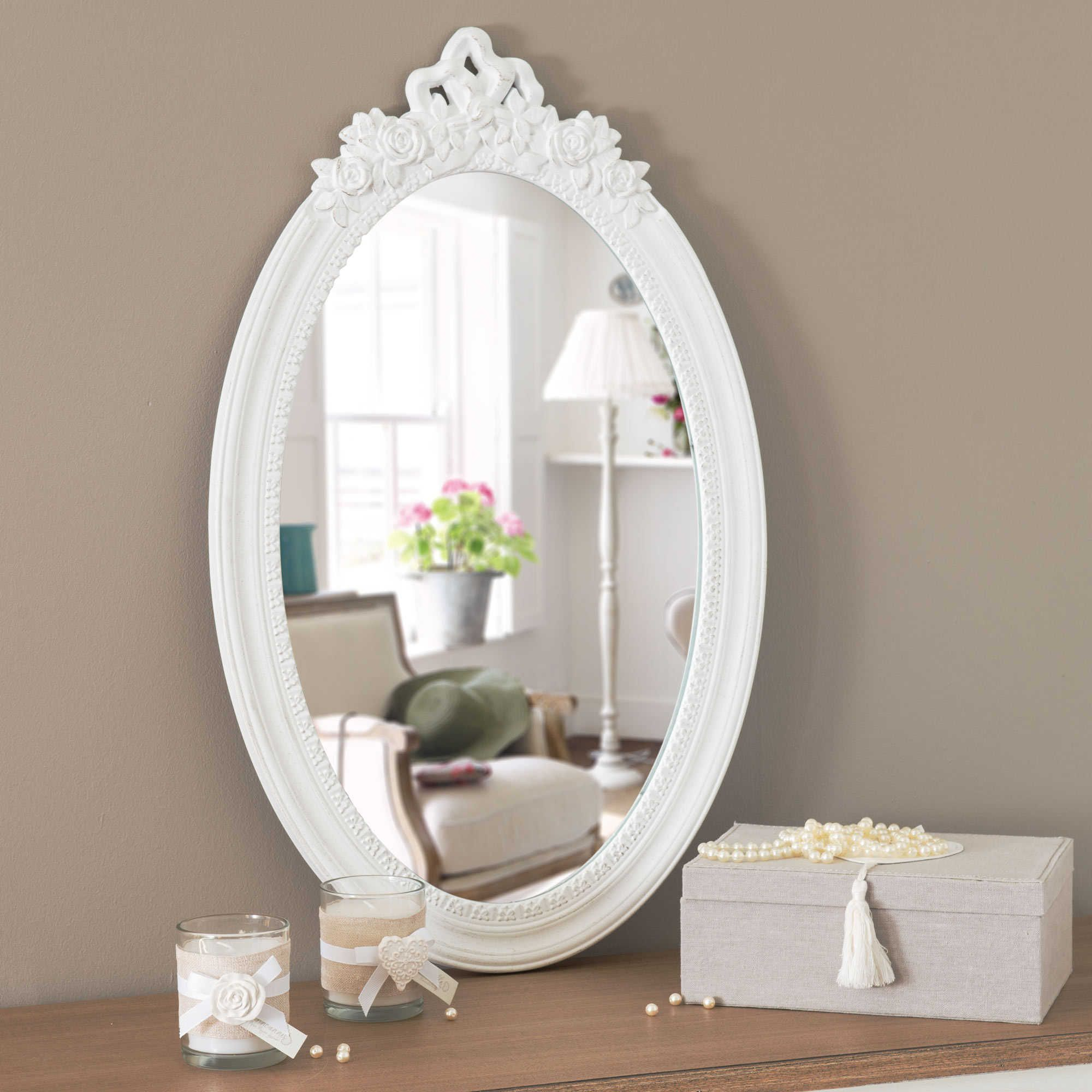 miroir en bois blanc h 65 cm romane maison du monde. Black Bedroom Furniture Sets. Home Design Ideas