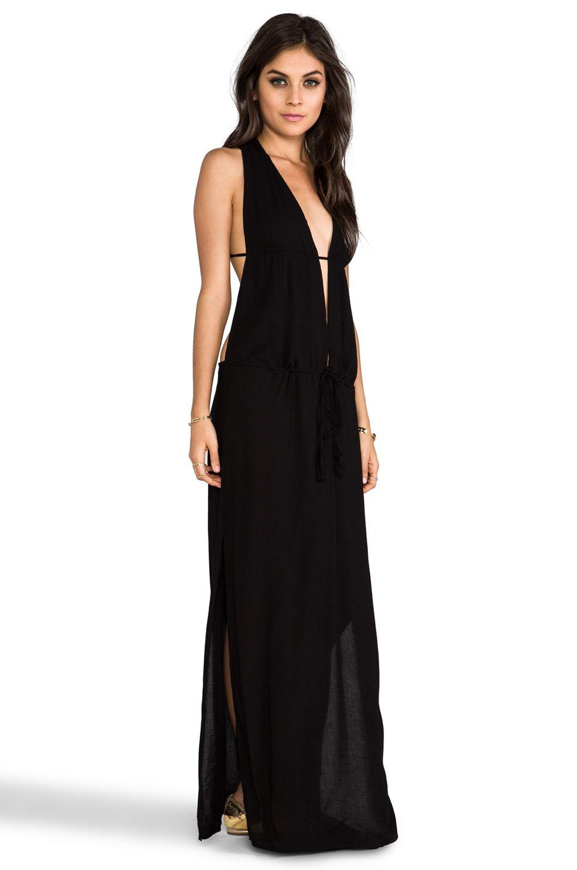 Indah nyx rayon crepe split front open back halter maxi dress in