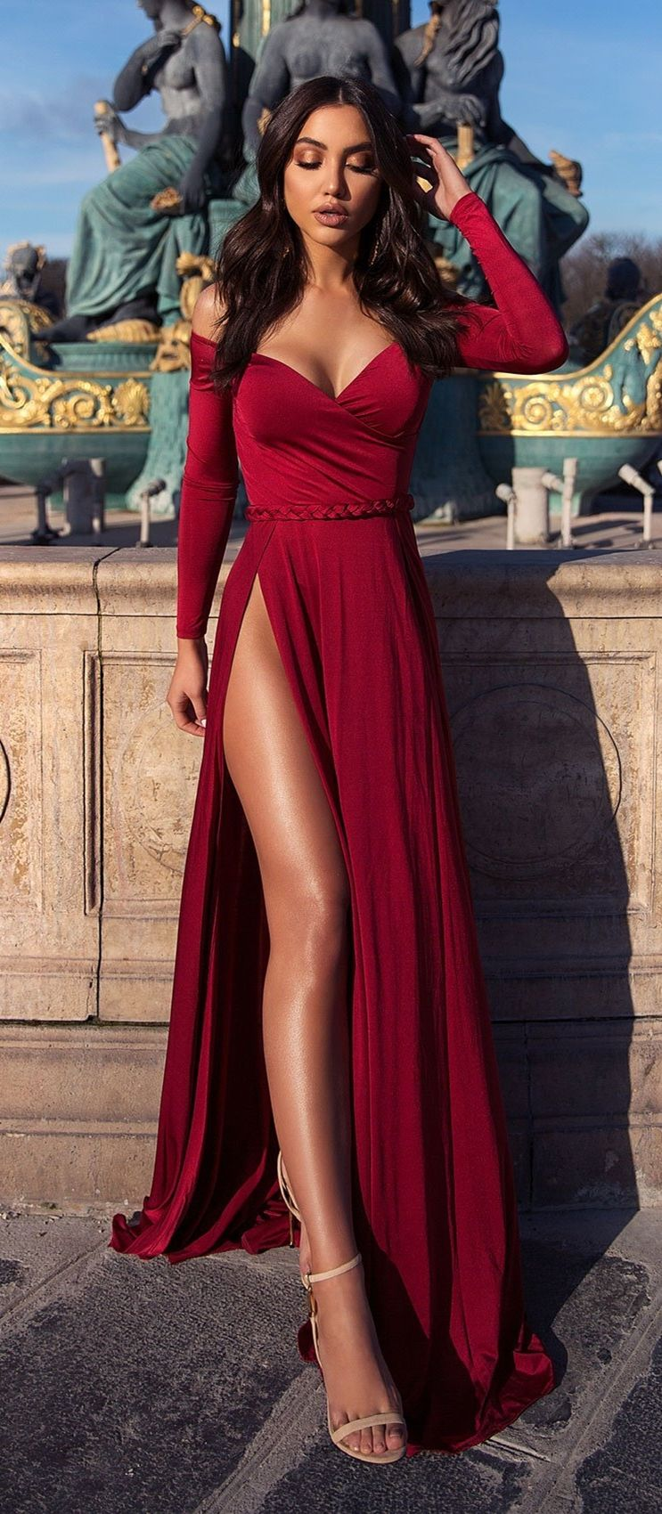A-Line Off-the-Shoulder Long Sleeves Floor-Length Burgundy Prom Dress with Split #eveningdresses