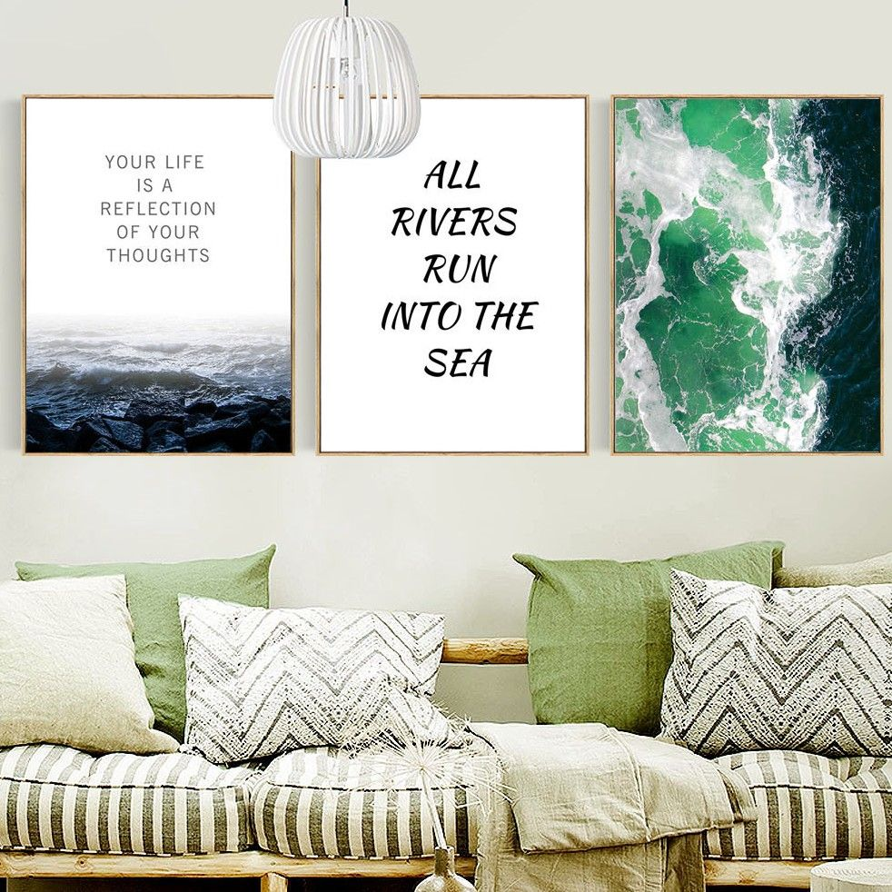 Nordic home decorative painting modern waves letter canvas painting