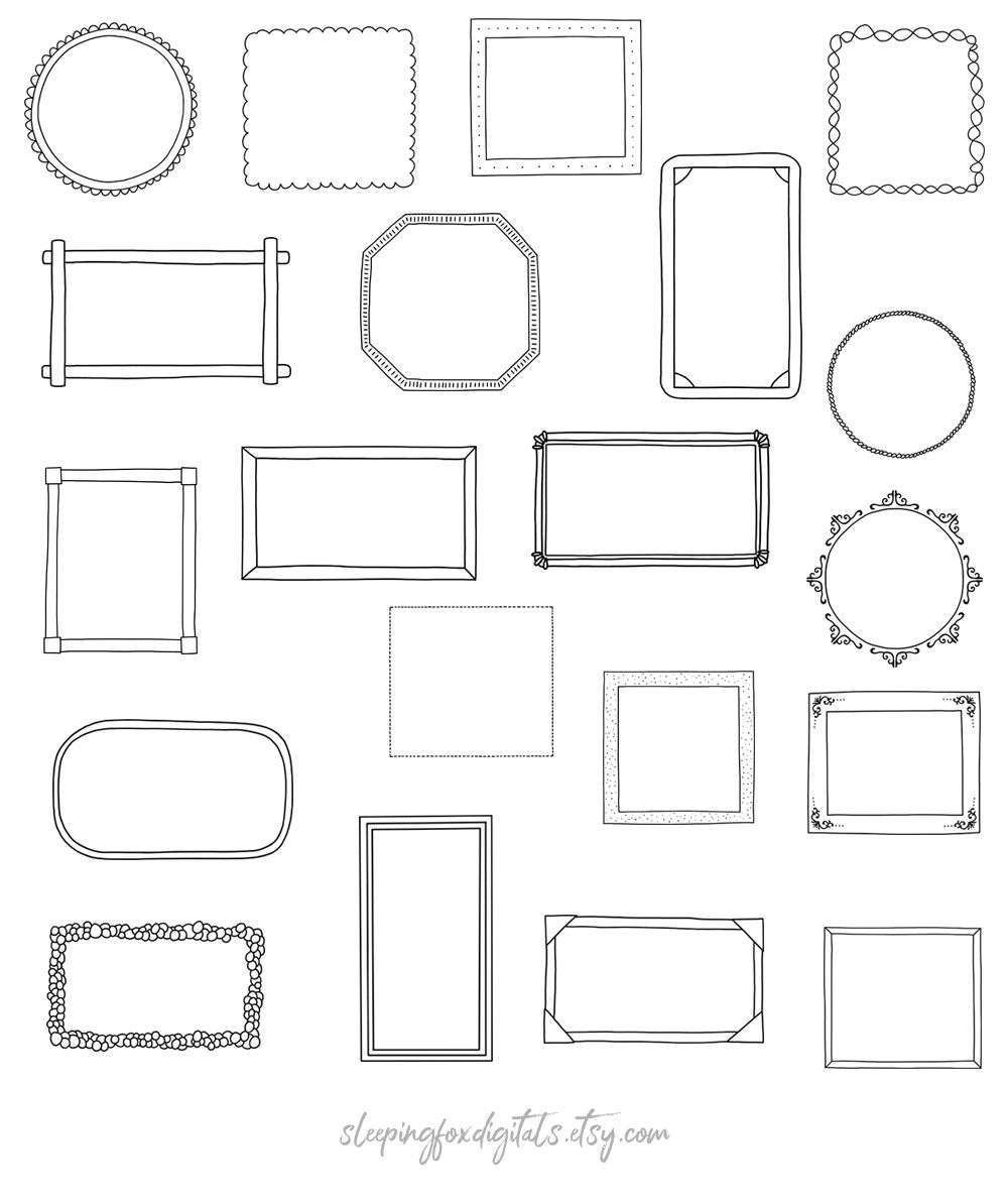 Doodle Clipart Frames Hand Drawn Clip Art Line Borders Etsy In 2021 Clip Art Frames Borders Doodle Frames Frame Clipart