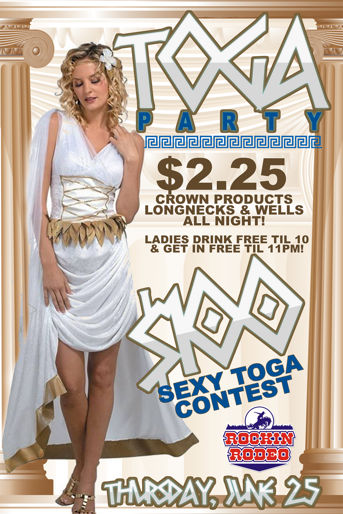 Togaparty Poster Flyer Design For Rockin Rodeo Nightclub In Bossier City Toga Party Night Club Toga