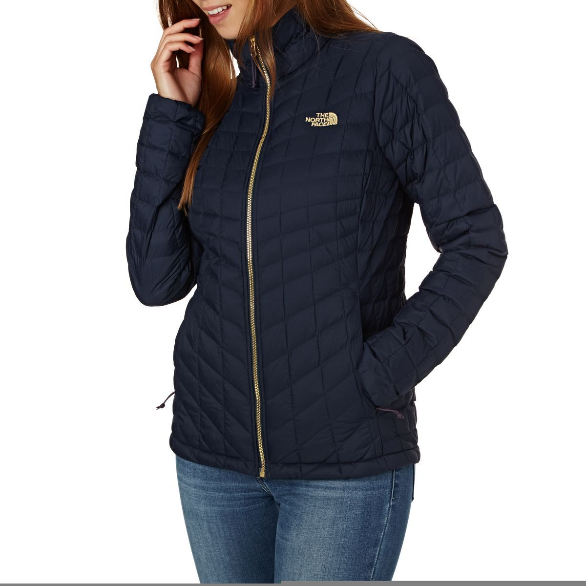 The North Face Thermoball Full Zip Jacket Urban Navy North Face Outfits Jackets For Women North Face Jacket [ 1200 x 1200 Pixel ]