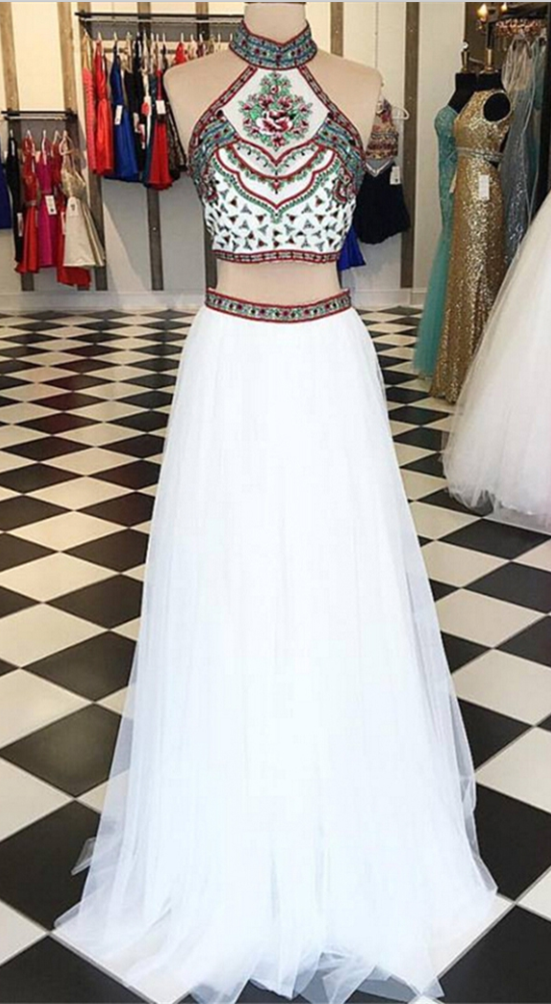 60b4bb2d36e Fahion A-Line Halter Open Back Long White Two Piece Prom Dress with  Embroidery. 2 Piece Prom Gown