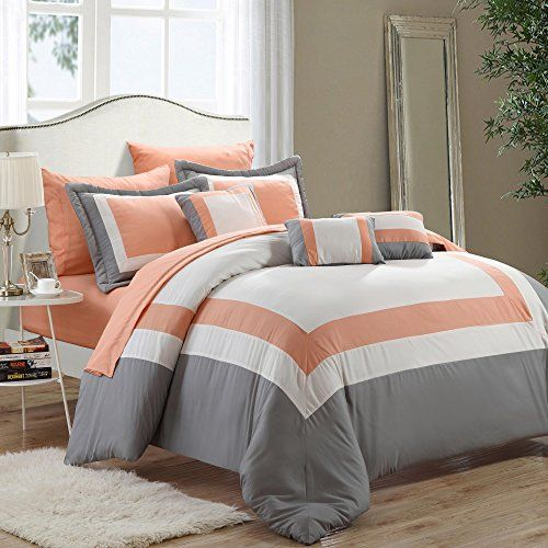 Duke Peach White Grey King 10 Piece Comforter Bed In A Bag Set