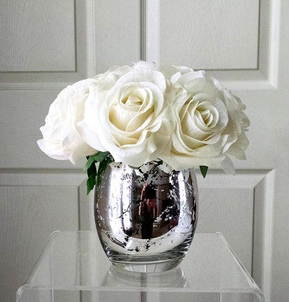 Real Touch Flowers For Home Decorations Birthday Gift Real Touch Roses Silk Flowers In Home Decor Fake Flowers White Roses Fake Flowers Decor Flower Vase Arrangements Flower Arrangements Diy