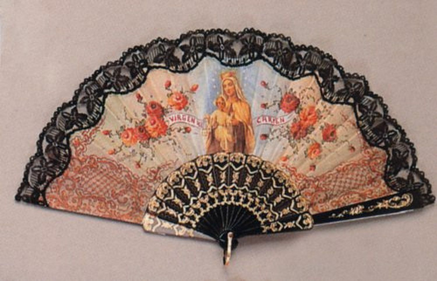 Religious Fan - Carmen - Black - 19in. - Folding - Hand Made - Imported from Spain