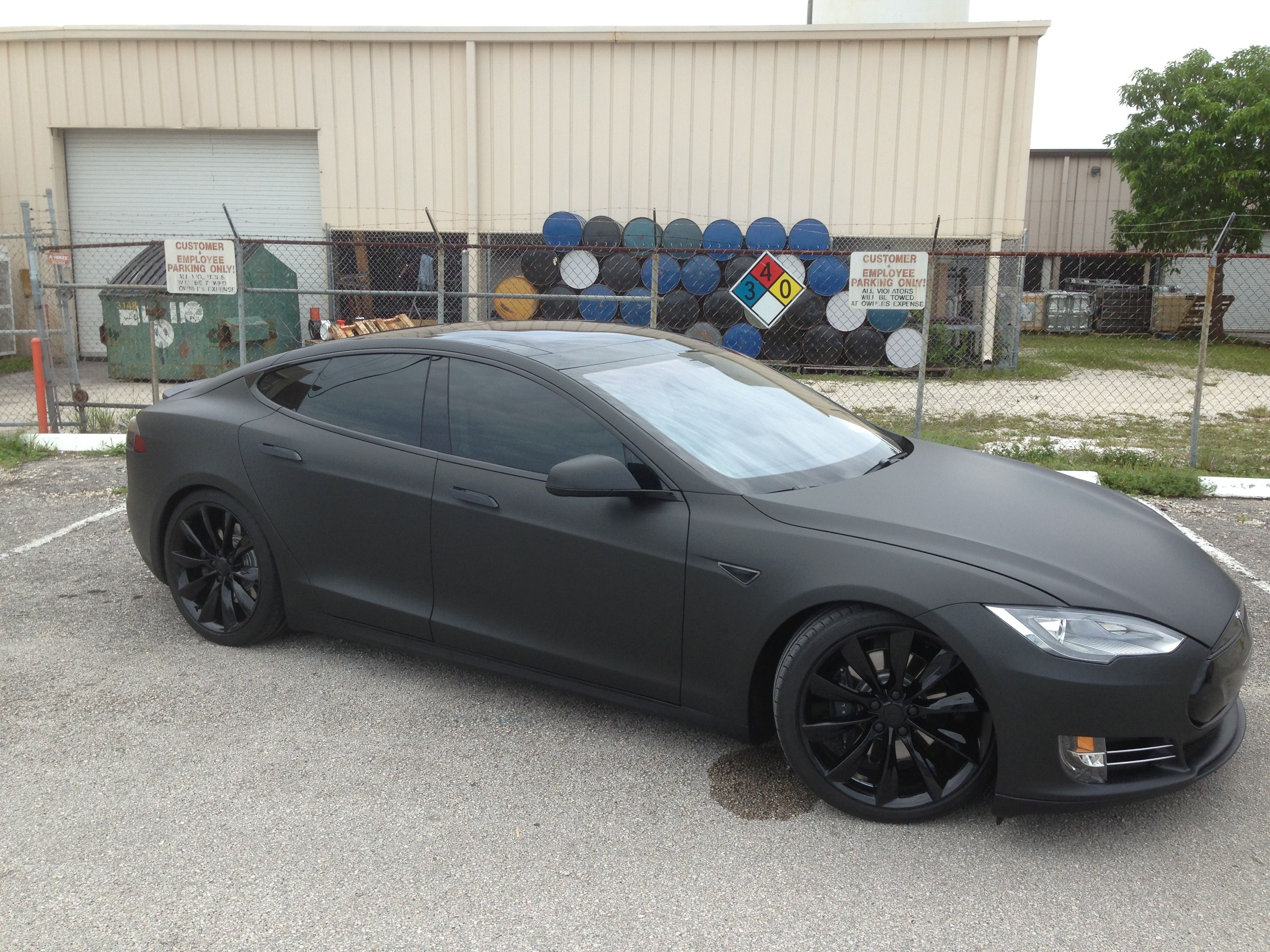 2017 Tesla Model S P85 3m Matte Black Blacked Out Chrome Powder Coated 21 Wheels