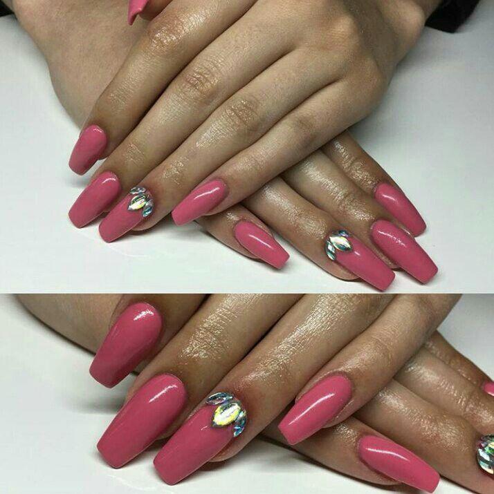 dark pink coffin nails with diamonds