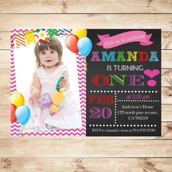 Personalized 1St Birthday Invitations with photo Baby Girls 1st – Custom 1st Birthday Invitations